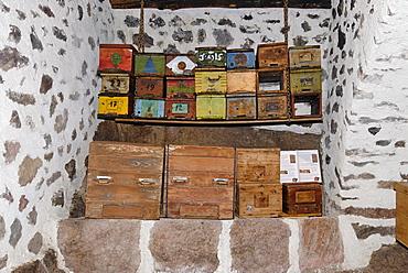 Plattner Bienenhof bee museum, historical bee hives, near Oberbozen at the Ritten Renon near Bozen Southern Tyrol Italy
