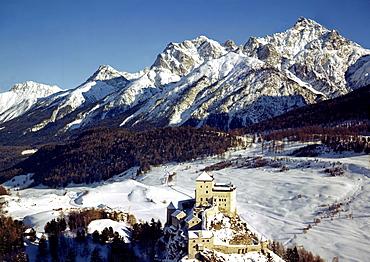 Tarasp castle canton of Graubuenden Grisons Switzerland in front of Lischana mountains