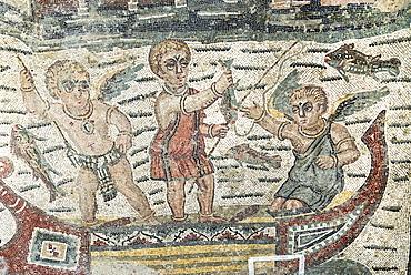 Puttos as fishermen in a boat mosaic floor Villa Casale Piazza Armerina Sicily Italy