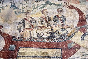 Three men in a boat mosaic floor Villa Casale Piazza Armerina Sicily Italy