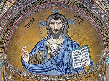 Christ Pantocrator apse cathedral San Salvatore Cefalu Sicily Sicilia Italy Italia