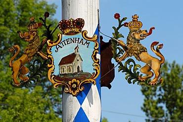 Detail of a Bavarian maypole, coat of arms of Attenham, Bavaria, Germany