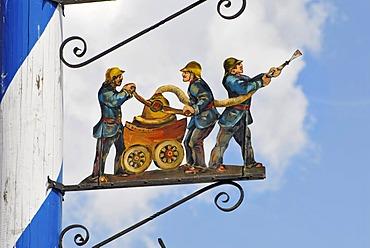 Detail of a Bavarian maypole, fire brigade, Bavaria, Germany