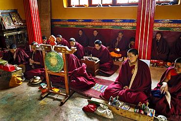 Assembly hall, Sangngag Simkyil Nunnery, Tibet