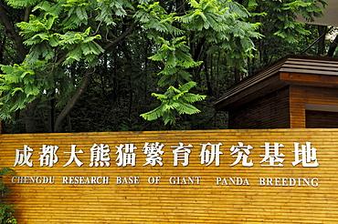Entrance, panda breeding station near Chengdu, China, Asia