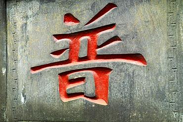 Character, Qingyin monastery, Mount Emei near Chengdu, China, Asia
