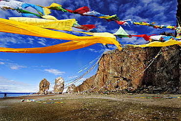 The Stone Couple and prayer flags, Nam-Tsho-Lake, Tibet