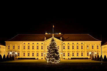 Castle Bellevue, domicile of the Federal President, with christmas tree, Berlin, Germany