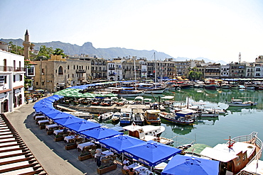 Kyrenia, town centre and marina, with the Pentadaktylos-Besparmak mountains in the background, Northern Cyprus, Cyprus, Europe