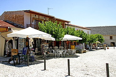 Souvenir shops selling handicrafts in the historic centre of Omodos, Cyprus Europe