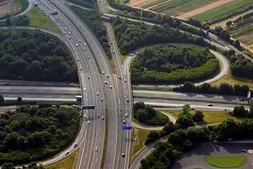 DEU, Germany the highway interchange near Eschborn A5-Kassel A66 Wiesbaden