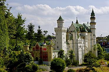 Castle Neuschwanstein made of Lego, theme park Legoland, Guenzburg, Germany