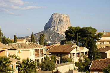 View over an exclusive residential area on the Penon de Ifach, Calpe, Costa Blanca, Spain