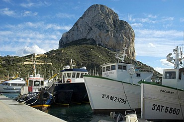 Fishing boats in the port of Calpe, Costa Blanca, Spain