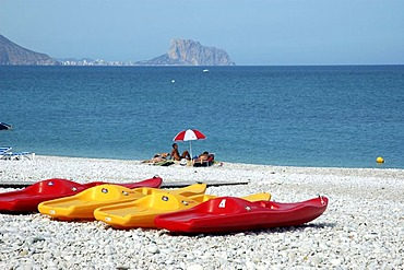 Sport boats at the beach, Playa del Albir, Altea, Costa Blanca, Spain