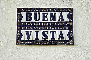 Spanish tiles on the wall of a house, azulejos buena Vista, Altea, Costa Blanca, Spain