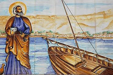 Spanish tiles in the port, azulejos, Altea, Costa Blanca, Spain