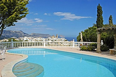 Luxurious swimming pool with view of the city and the coast, Altea, Costa Blanca, Spain
