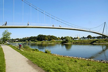 Pedestrian bridge over the Weser in Minden, Teutoburg Forest, North Rhine-Westphalia, Germany