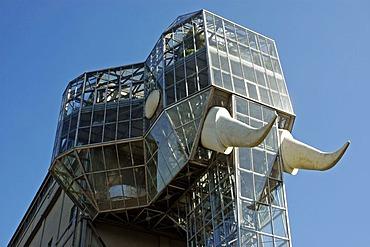 The glass elephant by Horst Rellecke, former mine Maximilian, Maximilianpark, Hamm, North Rhine Westphalia,
