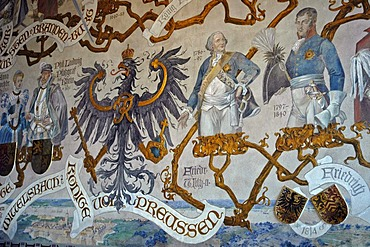 Historic wall painting in the ancestor hall in Castle Burg, Solingen, Bergisches Land, North Rhine Westphalia, Germany