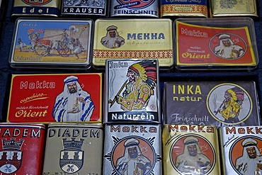 Tabacco cases, tabacco factory, Westphalian Open-Air Museum Hagen, Road of Industry Culture, North Rhine-Westphalia, Germany