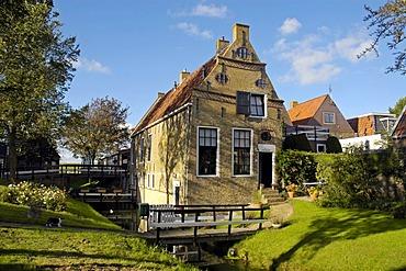 Historical commander's house, Hindeloopen, Ijsselmeer, Frisia, Netherlands