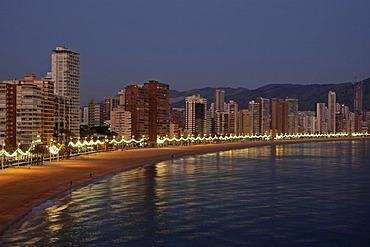 Evening mood, Playa de Levante, Benidorm, Costa Blanca, Spain