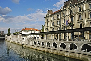 Market halls, Trznica, arcades of Joze Plecnik, river Ljubljanica, Ljubljana, Slovenia