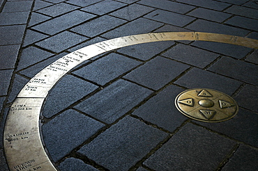 World circle, marking of distances at the Michaelsgate, Bratislava, Slovakia