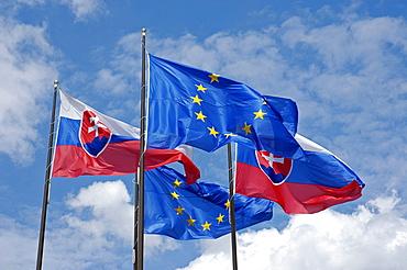Slovakian and European Union flags, Bratislava, Slovakia
