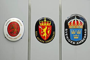 Coat of arms, Skandinavian embassy, Bratislava, Slovakia