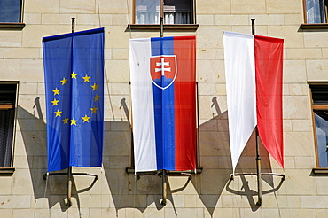 Flags at the magistrate building, Bratislava, Slovakia