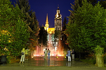 Singing fountain and cathedral St Elizabeth, Kosice, Slovakia