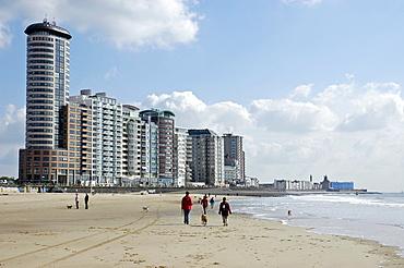 City beach and apartement blocks, Vlissingen, Zeeland, Holland, the Netherlands