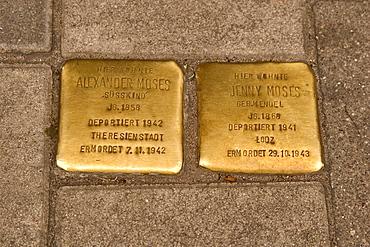 """Stumbling blocks"", reminiscent stones to expelled and deported Jews during the Nazi era in Hamburg-Hoheluft"