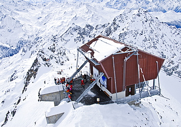 Mountain station on the Mont Fort (3328 meters), in 4 Vallees region, Valais, Switzerland