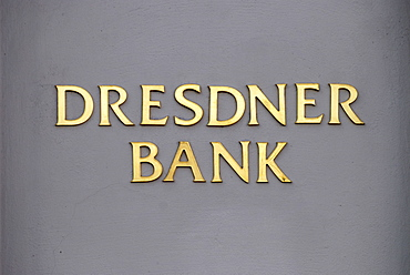 Dresdner Bank, written in golden letters