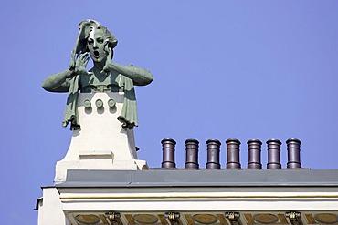 Housefronts decorated in art nouveau style in street Linke Wienzeile Vienna Austria