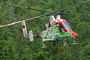 A special helicopter with two rotors Mairalp at the base of the mountain Traunstein Upper Austria