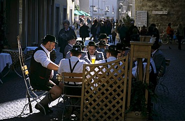 Traditional rifleman in a beer garden in Sterzing South Tirol Italy