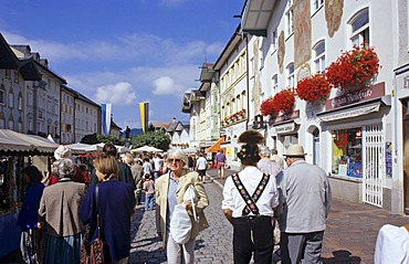 Market for pottery in Marktstrasse in city of Bad Tolz Bavaria Germany