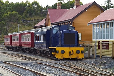 Train at the station during ride on Abt railway from Strahan to Queenstown Tasmania Australia
