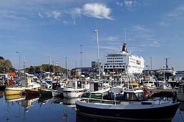 The harbour of the capital of Thorshavn with the ferry of the Smyril line Faeroe Islands
