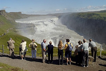 The golden waterfall Gullfoss at the road Kjolur F35 Iceland