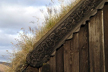 Old church Grafarkirkja made of turf near the village Grof on the Skagi peninsula Iceland