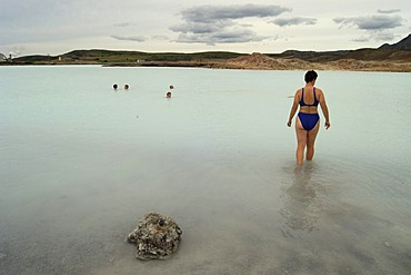 Taking a bath in the warm waters of this mineral lake Iceland MR
