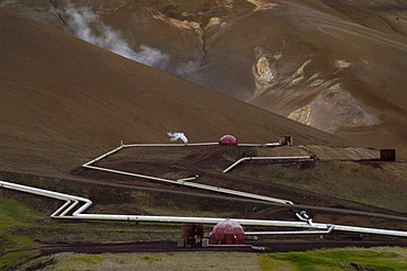 Geothermal power plant which uses the hot water coming from drill holes 2 km deep near the volcano Krafla Iceland