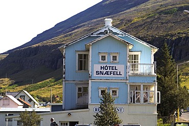 Old wooden hotel in the harbour of Seyisfjour Iceland