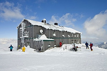The Alois Gunther mountain hut on top of the mountain Stuhleck Styria Austria